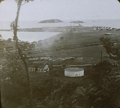 Islands and Breakwater, Pacific Entrance, Panama Canal,Magic Lantern Glass Slide