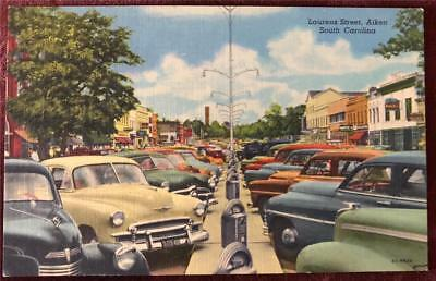1940s NR MINT UNU PC,LAURENS ST AIKEN SC TOWN VIEW Autos Stores Parking Meters