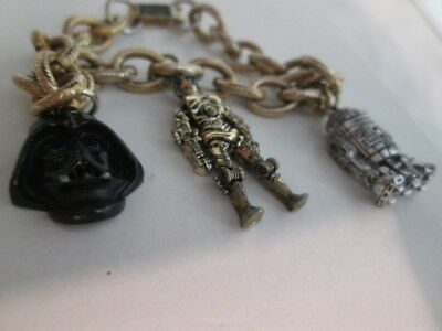 RARE! 1977 STAR WARS Movable CharmS BRACELET Darth Vader C3PO R2D2 Jewelry VNTG