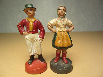 2 Vintage German Composition Putz Figures - Village Farm People - Christmas Putz