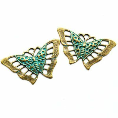 2Pcs Carved Brass Bronze Butterfly Pendant Bead 57x34x6mm K45798