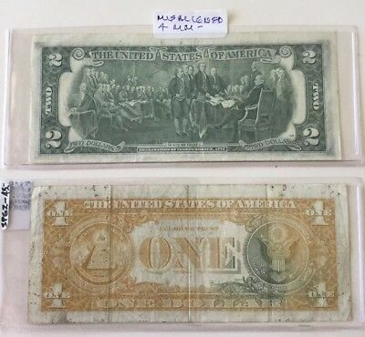 2 U.S. Currency Errors $1.00 Ink Missing $2.00 Misaligned 4 Mm Printing