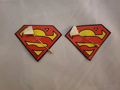 Lot Of 2 Vintage Superman 1977 Gold Logo Tie Pin New On Cards