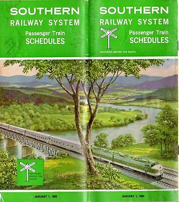 Southern Railway Railroad Timetable Schedules Jan 1 1965 Passenger Train Atlanta