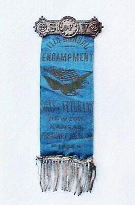 1894 Suv Sons Of Veterans 11Th Encampment Ribbon Badge Newton, Ks.