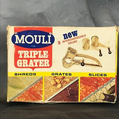 Vintage Mouli Triple Grater in Original Box Slicer Shredder Grater - U.S.A.