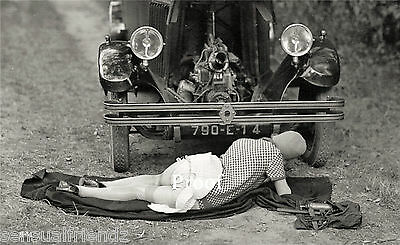 Old Vintage Automobile Car Antique Naughty French Model Photo1920's Reprint372