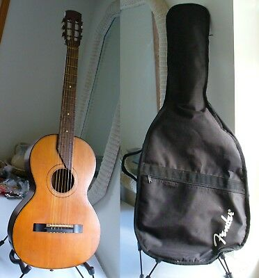 Vintage Mid 1900's Parlor Classical Acoustic Guitar with Soft Fender Gig Bag