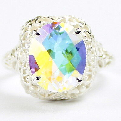 • SR009, 6 carat Mercury Mist Topaz, Sterling Silver Ladies Ring -Handmade
