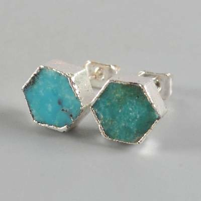 8mm Hexagon Natural Genuine Turquoise Stud Earrings Silver Plated T068445