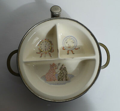 VINTAGE Excello SMALL CHILD'S WARMING DISH PLATE Dog Cat Clock baby