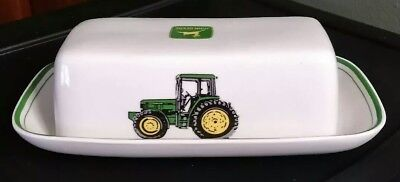 John Deere Butter Dish, Tractor, Farming, Collectable, Ceramic