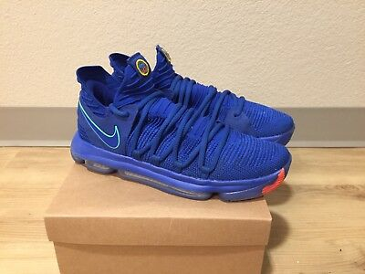new concept 241a8 7499c Nike Mens Zoom KD10 Size 10 Racer Blue Light Menta 897815-402 City Edition  Worn