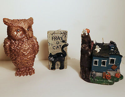 Three Vintage Halloween candles:  haunted house, black cat,  owl