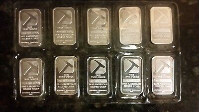 Lot of 10 -  Sealed 1 oz .999 Fine Silver Ingot Bar Pan American Corp Mining Axe