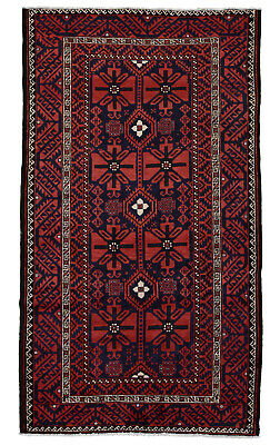 Vintage Persian Balouch Design Rug, 5'x9', Blue/Red, All wool pile