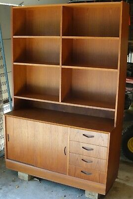 Vintage Mid-Century Danish Modern Teak Bookcase with Cabinet and Drawers MCM