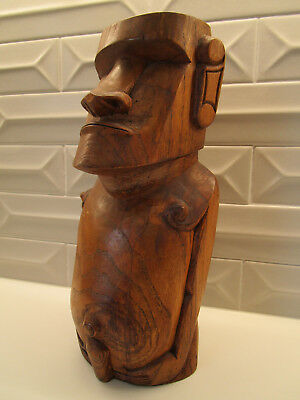 Vintage Easter Island Moai Tiki Head Hand Carved Wood Figure Rapa Nui Not Mug