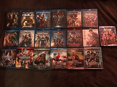 FULL MARVEL CINEMATIC Universe Collection Blu Ray Phase 1, 2 And 3  MCU 19  FILMS