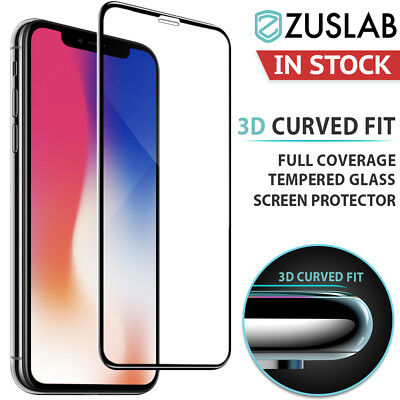 iPhone XS Max XR ZUSLAB 3D Full Cover Tempered Glass Screen Protector for Apple