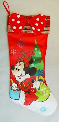 """Minnie Mouse Stocking Gifts Christmas Disney Large 19"""" Satin Red Plaid"""