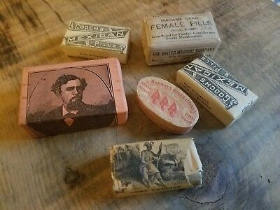 Lot Of Antique Medicine Pill Boxes