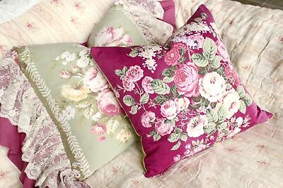 English Pink Cabbage Roses Vintage Barkcloth Fabric Floral Pillow 1930s 40s
