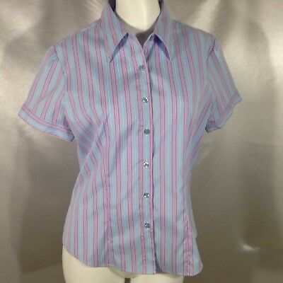 DCC MISSY STRETCH Women's M, Button Down Top Short Sleeve Blue Pink White Stripe