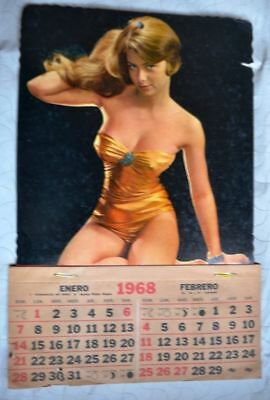1968s VINTAGE ADVERTISEMENT SWIMSUIT EROS ART SCENE GLAMOUR PIN UP WALL CALENDAR