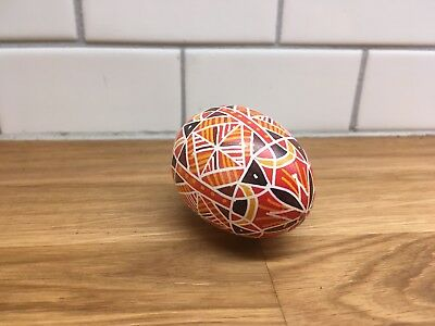 Collectible Decorative Hand Painted Wood Egg Red yellow hollow