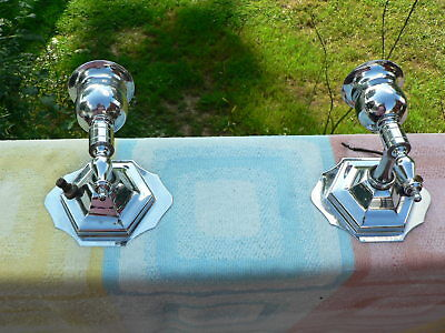 2 Retro Mid Century Modern Chrome Bathroom Vanity Wall Light Sconces Vintage