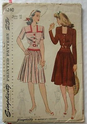 Vintage 1942 Simplicity 4240 Misses' and Women's Dress Size 16
