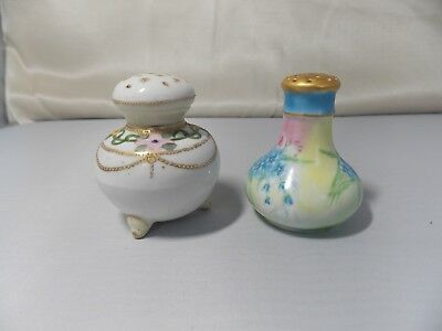 2 Antique Porcelain Hand Painted & Decorated Individual Salt Shakers