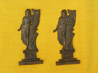 Antique Vintage Pair Of Furniture Embellishments Women with Harps