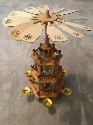 Vintage 3 Tier Christmas Nativity Carousel Wood Windmill Candle Spinner w/ Box