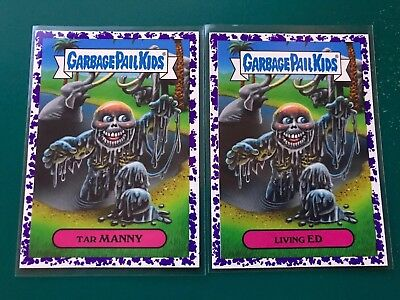 5 Pairs Of Purple Parallels Garbage Pail Kids Oh The Horror-ible! 10 Card Lot!!