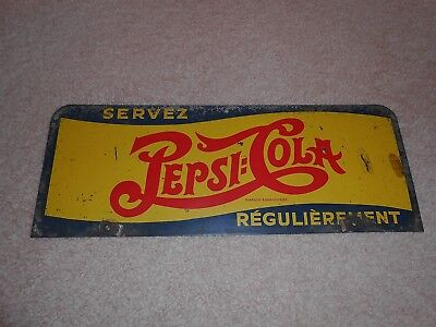 Old Thick Metal Pepsi Cola Soda Double Dot Rack Sign Serve Regularly Advertising