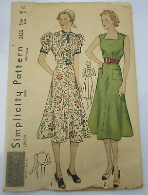 Vintage 1930's Simplicity 2426 Misses' Street or Sports Dress Size 16