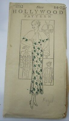 Vintage 1930's Hollywood 4112 Ladies' and Misses' Dress and Jacket Size 14