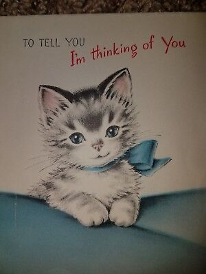 Vintage MCM Norcross Kittens Greeting Card Cute Grey Kitty Cat Tabby Bow 1940s