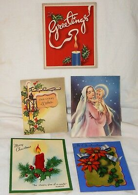 lot of 5 vintage christmas greeting cards 1940s1950s 5 - Artistic Holiday Cards