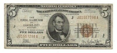 $5 Federal Reserve Bank Note 1929, Brown Seal, Kansas City Dist, Fr. 1850J, VG-F