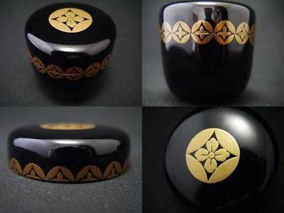 Japanese Traditional Lacquer Wooden Tea caddy SHIPPO design makie Natsume (911)