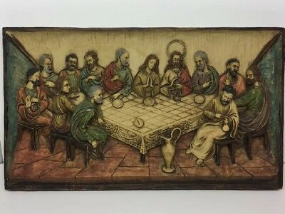 """Vintage Made In Italy Resin Last Supper Wall Hanging Picture 12-1/4""""x7-1/4"""" 3D"""