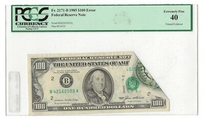 ERROR NOTE, $100 FRN 1985, PRINTED FOLDOVER, NY District, Fr. 2171B, PCGS XF40.