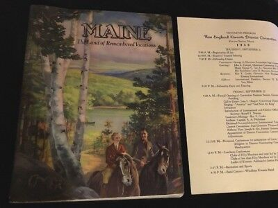 Vtg 1939 Kiwanis Club Program & Maine The Land Of Remembered Vacations Booklet