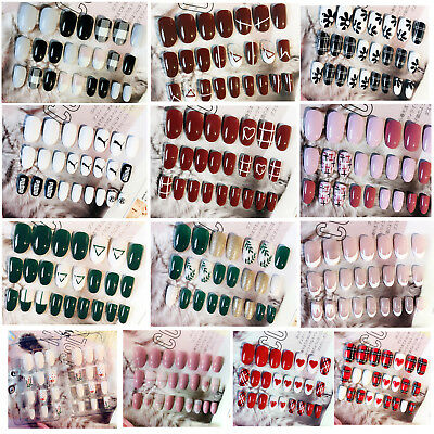 24pcs Nail Tips Full False Nails Pre-designed French Artificial Nail Tips Salon