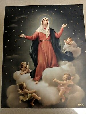 Beautiful Antique/Vintage Religious Mary and Angels Litho graph 8 x 10