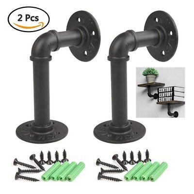 2Pcs Industrial Iron Pipe Shelf Brackets,Wall Mounted Floating Steampunk