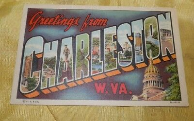 Vintage Linen Large Letter Post Card-Greetings from Charleston, WV-Curt Teich